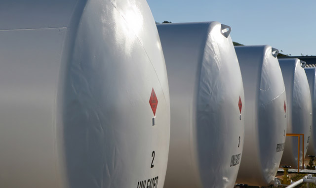 External fuel tanks at a filling station